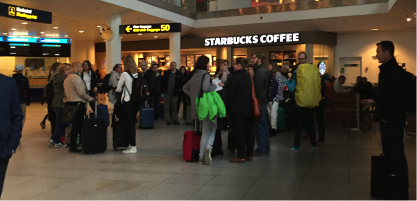 DHT participants waiting in the Copenhagen airport. Photo by Roligen T. Thirstrup