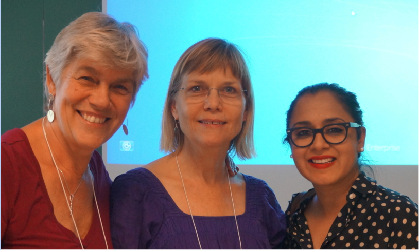 The photo shows Christina Hee Pedersen, Lisbeth Frølunde from RUC, with Devika Chawla, Ohio University. Coincidentally, Devika Chawla (with Laura Black) have just hosted RUC Phd student in Communication Studies Michael Scheffmann-Petersen at OU in winter 2015. Christina is currently on writing leave at UC Berkeley. Photo by Myrdene Anderson.