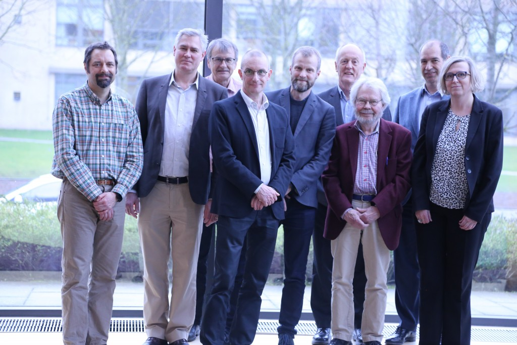 Group photo of the attendees. From left to right: Associate professor Gary Thomas Banta, RUC, director of Environmental Risk Professor Jonas Gunnarsson, Stockholms Universitet, external evaluator of Environmental Risk Professor Laurids Sandager Lauridsen, RUC, director of Global Dynamics Professor Jesper Simonsen, RUC director of Designing Human Technologies Vice Rector, Peter Kjær, RUC Professor Alan Irwin, Copenhagen Business School, external evaluator of Power Media and Communication Professor Staffan Lindberg, Lund University, external evaluator of Global Dynamics Professor Robert Winter, University of St. Gallen, external evaluator of Designing Human Technologies Professor Bente Halkier, RUC, director of Power Media and Communication